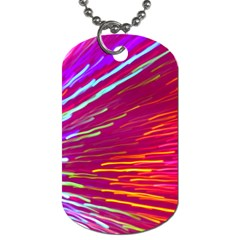 Zoom Colour Motion Blurred Zoom Background With Ray Of Light Hurtling Towards The Viewer Dog Tag (two Sides) by Mariart