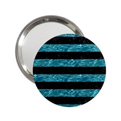Stripes2 Black Marble & Blue Green Water 2 25  Handbag Mirror by trendistuff