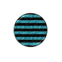 Stripes2 Black Marble & Blue Green Water Hat Clip Ball Marker (4 Pack) by trendistuff