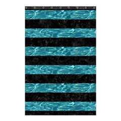 Stripes2 Black Marble & Blue Green Water Shower Curtain 48  X 72  (small) by trendistuff