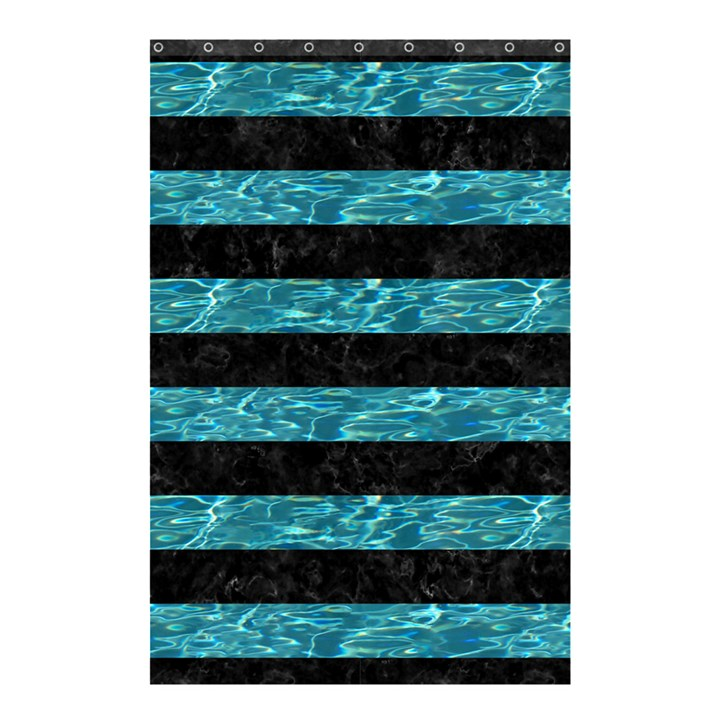 STRIPES2 BLACK MARBLE & BLUE-GREEN WATER Shower Curtain 48  x 72  (Small)