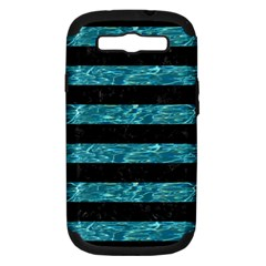 Stripes2 Black Marble & Blue Green Water Samsung Galaxy S Iii Hardshell Case (pc+silicone) by trendistuff
