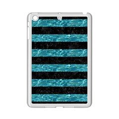 Stripes2 Black Marble & Blue Green Water Apple Ipad Mini 2 Case (white) by trendistuff