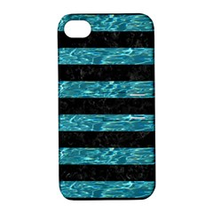 Stripes2 Black Marble & Blue Green Water Apple Iphone 4/4s Hardshell Case With Stand by trendistuff