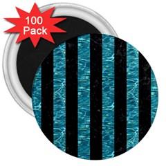 Stripes1 Black Marble & Blue Green Water 3  Magnet (100 Pack) by trendistuff