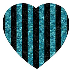 Stripes1 Black Marble & Blue Green Water Jigsaw Puzzle (heart) by trendistuff