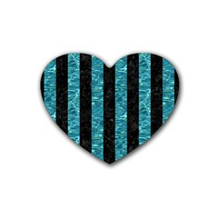Stripes1 Black Marble & Blue Green Water Rubber Heart Coaster (4 Pack) by trendistuff