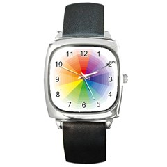 Colour Value Diagram Circle Round Square Metal Watch by Mariart