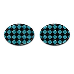 Square2 Black Marble & Blue Green Water Cufflinks (oval) by trendistuff