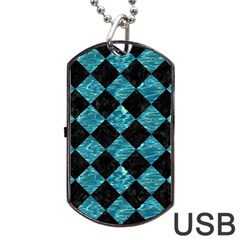 Square2 Black Marble & Blue Green Water Dog Tag Usb Flash (one Side) by trendistuff