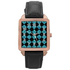 Square2 Black Marble & Blue Green Water Rose Gold Leather Watch  by trendistuff