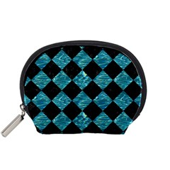 Square2 Black Marble & Blue Green Water Accessory Pouch (small) by trendistuff