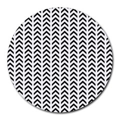 Chevron Triangle Black Round Mousepads by Mariart