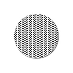 Chevron Triangle Black Magnet 3  (round) by Mariart