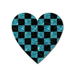 Square1 Black Marble & Blue Green Water Magnet (heart) by trendistuff