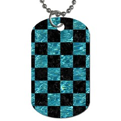Square1 Black Marble & Blue Green Water Dog Tag (one Side) by trendistuff