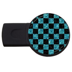 Square1 Black Marble & Blue Green Water Usb Flash Drive Round (4 Gb) by trendistuff