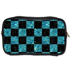 Square1 Black Marble & Blue Green Water Toiletries Bag (two Sides) by trendistuff