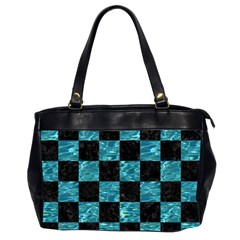 Square1 Black Marble & Blue Green Water Oversize Office Handbag (2 Sides) by trendistuff