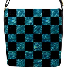 Square1 Black Marble & Blue Green Water Flap Closure Messenger Bag (s) by trendistuff