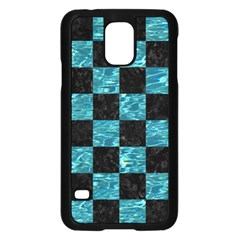 Square1 Black Marble & Blue Green Water Samsung Galaxy S5 Case (black) by trendistuff