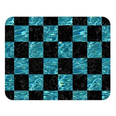 Square1 Black Marble & Blue Green Water Double Sided Flano Blanket (large) by trendistuff