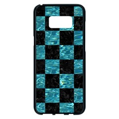 Square1 Black Marble & Blue Green Water Samsung Galaxy S8 Plus Black Seamless Case by trendistuff