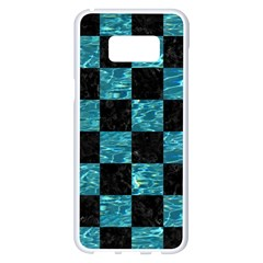 Square1 Black Marble & Blue Green Water Samsung Galaxy S8 Plus White Seamless Case by trendistuff