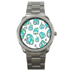 Brilliant Diamond Green Blue White Sport Metal Watch by Mariart