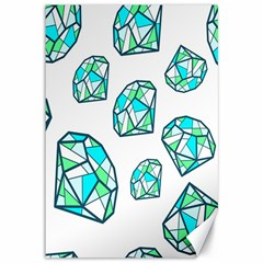 Brilliant Diamond Green Blue White Canvas 12  X 18   by Mariart