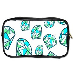 Brilliant Diamond Green Blue White Toiletries Bags by Mariart