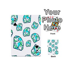 Brilliant Diamond Green Blue White Playing Cards 54 (mini)  by Mariart