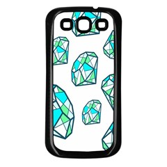 Brilliant Diamond Green Blue White Samsung Galaxy S3 Back Case (black) by Mariart