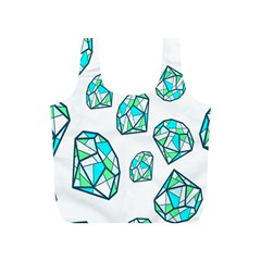 Brilliant Diamond Green Blue White Full Print Recycle Bags (s)  by Mariart