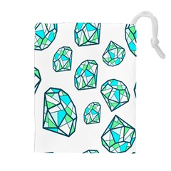 Brilliant Diamond Green Blue White Drawstring Pouches (extra Large) by Mariart
