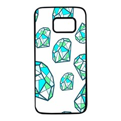 Brilliant Diamond Green Blue White Samsung Galaxy S7 Black Seamless Case