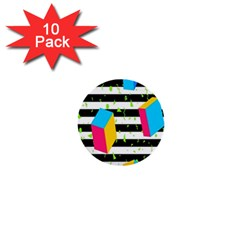 Cube Line Polka Dots Horizontal Triangle Pink Yellow Blue Green Black Flag 1  Mini Buttons (10 Pack)  by Mariart