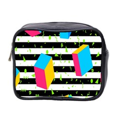 Cube Line Polka Dots Horizontal Triangle Pink Yellow Blue Green Black Flag Mini Toiletries Bag 2 Side by Mariart