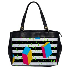 Cube Line Polka Dots Horizontal Triangle Pink Yellow Blue Green Black Flag Office Handbags by Mariart