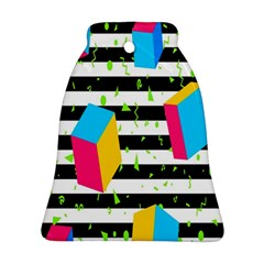 Cube Line Polka Dots Horizontal Triangle Pink Yellow Blue Green Black Flag Bell Ornament (two Sides) by Mariart