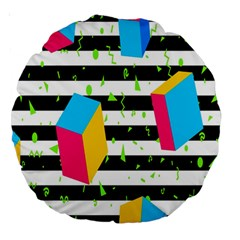Cube Line Polka Dots Horizontal Triangle Pink Yellow Blue Green Black Flag Large 18  Premium Round Cushions by Mariart