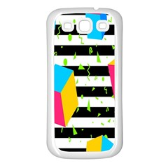 Cube Line Polka Dots Horizontal Triangle Pink Yellow Blue Green Black Flag Samsung Galaxy S3 Back Case (white) by Mariart