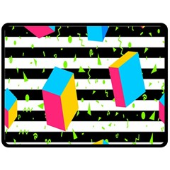 Cube Line Polka Dots Horizontal Triangle Pink Yellow Blue Green Black Flag Double Sided Fleece Blanket (large)  by Mariart