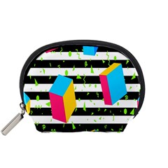 Cube Line Polka Dots Horizontal Triangle Pink Yellow Blue Green Black Flag Accessory Pouches (small)  by Mariart