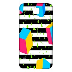 Cube Line Polka Dots Horizontal Triangle Pink Yellow Blue Green Black Flag Samsung Galaxy S5 Back Case (white) by Mariart