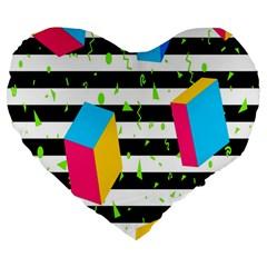 Cube Line Polka Dots Horizontal Triangle Pink Yellow Blue Green Black Flag Large 19  Premium Flano Heart Shape Cushions by Mariart