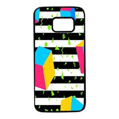 Cube Line Polka Dots Horizontal Triangle Pink Yellow Blue Green Black Flag Samsung Galaxy S7 Black Seamless Case