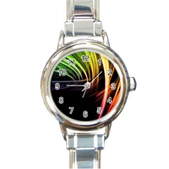Colorful Abstract Fantasy Modern Green Gold Purple Light Black Line Round Italian Charm Watch by Mariart