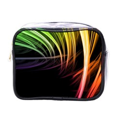 Colorful Abstract Fantasy Modern Green Gold Purple Light Black Line Mini Toiletries Bags by Mariart