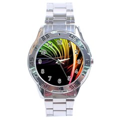 Colorful Abstract Fantasy Modern Green Gold Purple Light Black Line Stainless Steel Analogue Watch by Mariart